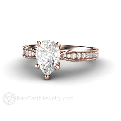 Rare Earth Jewelry Pear Shaped Moissanite Solitaire Engagement Ring 14K Rose Gold Forever One