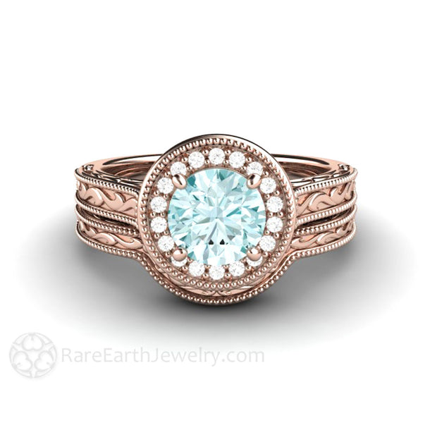 Blue Moissanite Bridal Set 18K Rose Gold Setting Diamond Alternative Engagement Rare Earth Jewelry