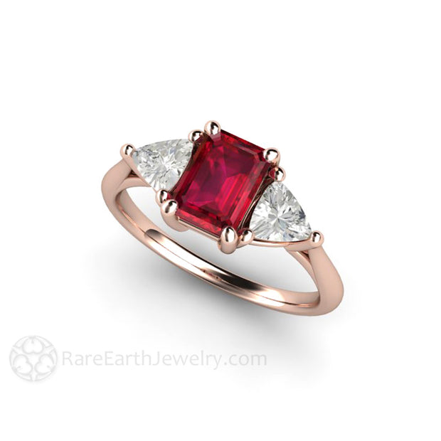 18K Rose Gold Ruby and Sapphire Anniversary Ring Rare Earth Jewelry