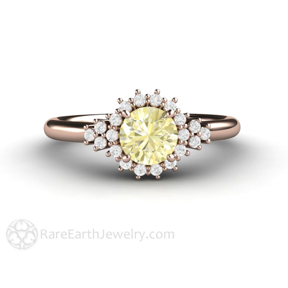 15c16b453c728 Lemon Yellow Sapphire Engagement Ring Vintage Cluster with Diamonds