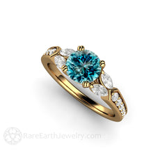 Rare Earth Jewelry 18K Round 7mm Blue Diamond Wedding Ring with White Diamond Accent Stones