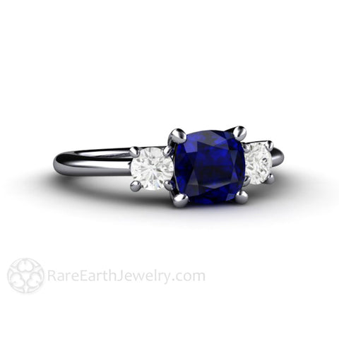 Cushion Cut 3 Stone Blue Sapphire Ring with Moissanite