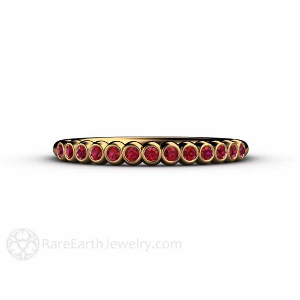 18K Yellow Gold Ruby Wedding Band Rare Earth Jewelry
