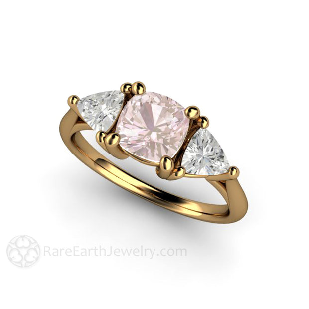 18K Gold Cushion Pink Sapphire Ring White Trillion Sides Vintage Design Rare Earth Jewelry