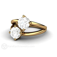 Two Stone Forever One Moissanite Ring Round Cut 2 CTW 18K Yellow Gold