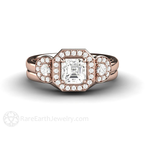 Diamond Alternative Conflict Free White Sapphire Wedding Set 14K Rose Gold Rare Earth Jewelry