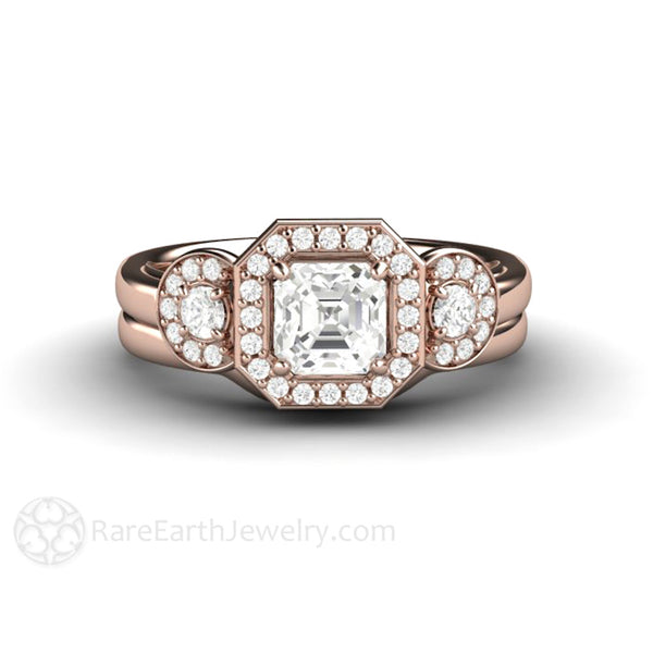 Asscher White Sapphire Engagement Ring 3 Stone Halo – Rare Earth Jewelry