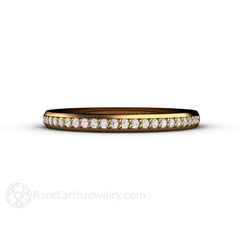 18K Yellow Gold Conflict Free Diamond Ring Stackable Band Rare Earth Jewelry