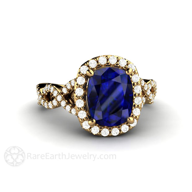 Rare Earth Jewelry 18K Halo Cushion Blue Sapphire Ring 2.75 Carat Center Stone Diamond Accented