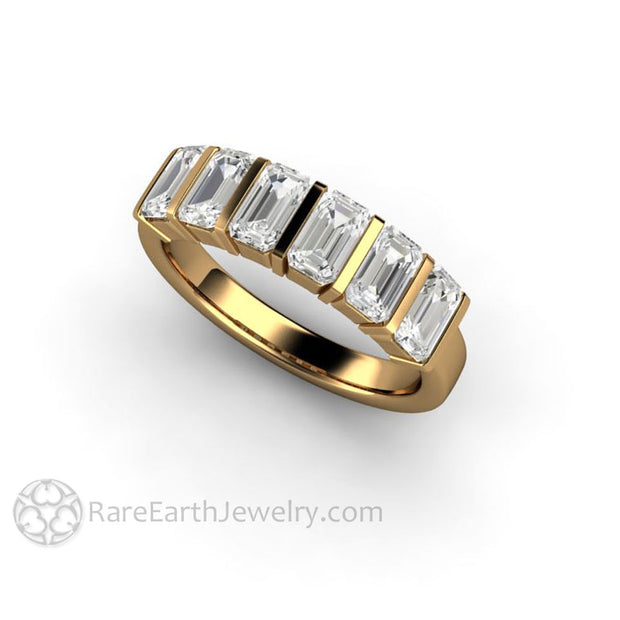 Charles and Colvard Moissanite Ring with 6 Stones in 18K Yellow Gold Ethical Diamond Alternative