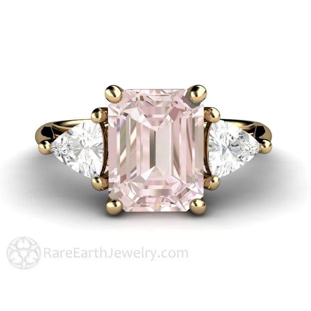 Yellow Gold Morganite Ring Trillion Sapphire Accents Natural Gemstones