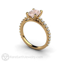 18K Morganite Wedding Ring Cushion Cut Rare Earth Jewelry