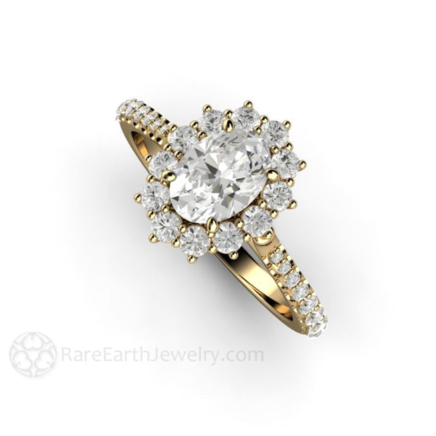 Rare Earth Jewelry 1ct Forever One Moissanite Wedding Ring Oval Cut Halo 14K Yellow Gold