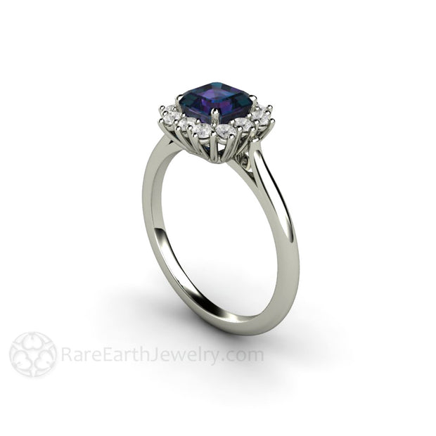 Alexandrite Cluster Diamond Halo Ring 18K White Gold Rare Earth Jewelry