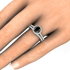 Black and White Diamond Wedding Set on Finger Rare Earth Jewelry