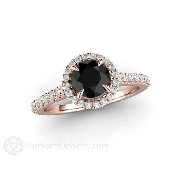 18K Rose Gold Black Diamond Engagement Ring 1ct Round Cut Center Rare Earth Jewelry