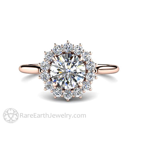 Diamond Engagement Ring 1ct Cluster with Diamond Halo