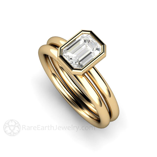 Rare Earth Jewelry Diamond Wedding Set Emerald Cut Bezel Setting GIA Certified Solitaire