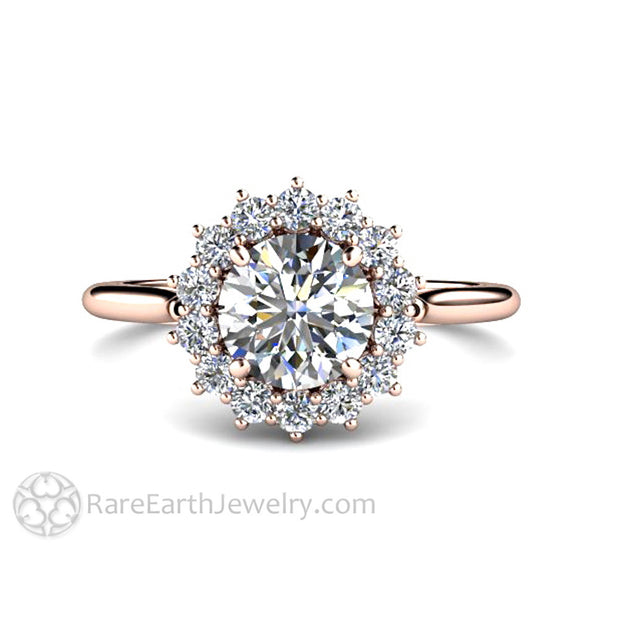 Rare Earth Jewelry 1ct Diamond Ring Round Cut Halo 14K or 18K Gold