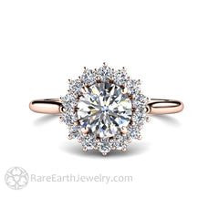 Rare Earth Jewelry 1ct Diamond Ring Round Cut Halo 14K or 18K Gold Moissanite Alternative Available