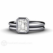 Rare Earth Jewelry Platinum Diamond Solitaire Wedding Set Bezel Setting Emerald Cut