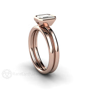 Rare Earth Jewelry Rose Gold Diamond Wedding Set 1ct Emerald Cut Solitaire