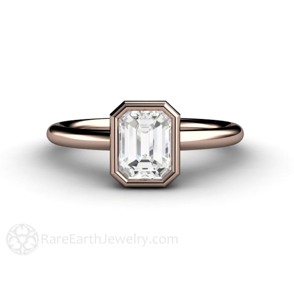 1ct T.W. Emerald Cut Diamond Solitaire Engagement Ring Rare Earth Jewelry
