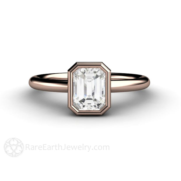 Rare Earth Jewelry 1 Carat Emerald Cut Diamond Solitaire Engagement Ring 14K or 18K Gold Bezel Setting