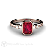 Rose Gold Bezel Ruby Ring Emerald Cut Solitaire with Diamond Accents Rare Earth Jewelry