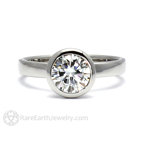 Diamond Engagement Ring 1ct Round Bezel Solitaire