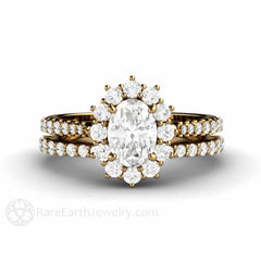 Rare Earth Jewelry 18K Oval Moissanite Halo Bridal Set with Diamonds