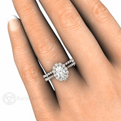 Rare Earth Jewelry Oval Moissanite Wedding Set on Finger 14K or 18K Gold