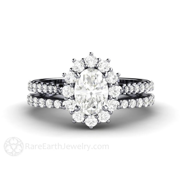 Rare Earth Jewelry Forever One Moissanite Wedding Ring Set with Diamond Halo Accent Stones Oval Cut