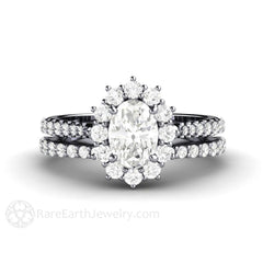 Oval Forever One Moissanite Bridal Wedding Set with Diamond Halo Accent Stones Rare Earth Jewelry