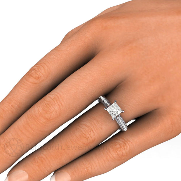 1ct Princess Cut Diamond Ring Vintage Style on Finger Rare Earth Jewelry