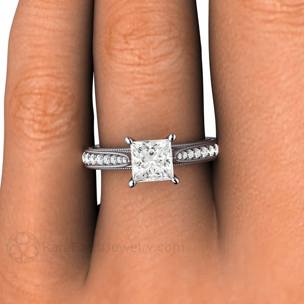 Princess Diamond Solitaire Ring on Finger Milgrain Filigree Vintage Style