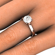 Rare Earth Jewelry 1ct Diamond Solitaire Ring on Finger