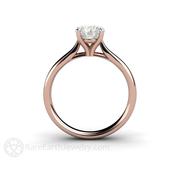 Rare Earth Jewelry 1ct Round Cut Diamond Solitaire Wedding Ring Rose Gold Setting