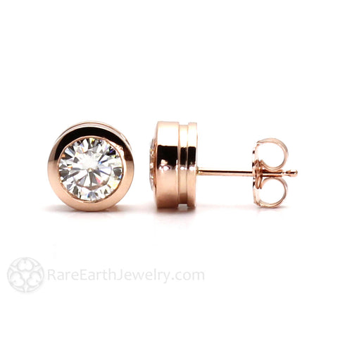 14K Gold Moissanite Stud Earrings Bezel Set Forever One Moissanite