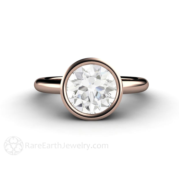 2 Carat Round Moissanite Engagement Ring in Rose Gold Simple Bezel Setting Hand Made by Rare Earth Jewelry