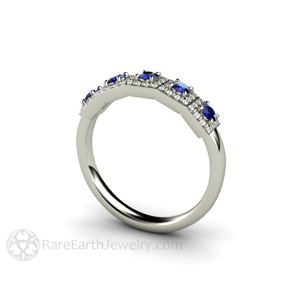 Blue Sapphire Anniversary Band with Diamond Accent Stones 14K Rare Earth Jewelry