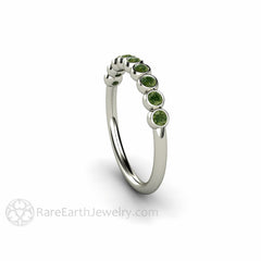 White Gold Bezel Set Dark Green Diamond Ring Round Cut Rare Earth Jewelry