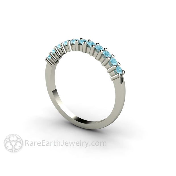 Aquamarine Stacking Band March Birthstone Ring 14K Rare Earth Jewelry