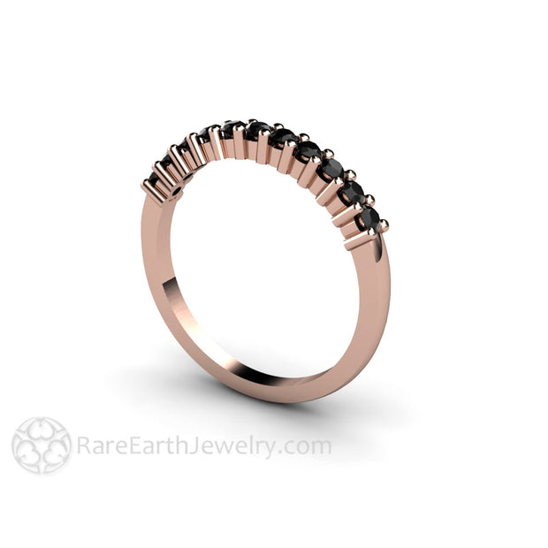 14K Rose Gold Black Diamond Stackable Ring Rare Earth Jewelry