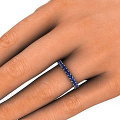 Round Cut Blue Sapphire Stacking Ring on Finger Rare Earth Jewelry