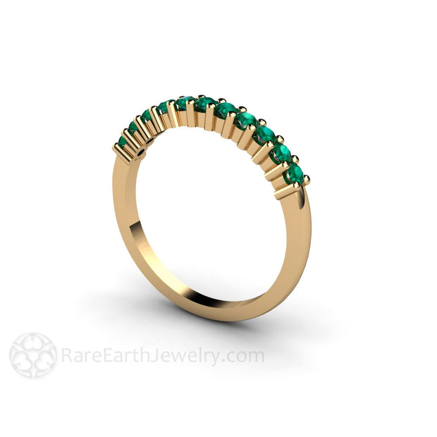 Emerald Stacking Ring Stackable Anniversary Band 14K Round Cut Rare Earth Jewelry