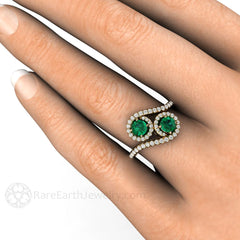 2 Stone Emerald Halo Ring on Finger Rare Earth Jewelry