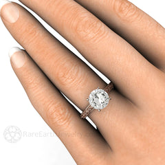 8mm Forever One Moissanite Solitaire Engagement Ring on Finger Rare Earth Jewelry