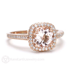 Rare Earth Jewelry Rose Gold Morganite Wedding Ring