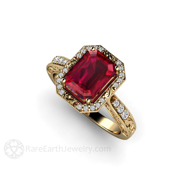 Rare Earth Jewelry Emerald Ruby Halo Anniversary or Right Hand Ring